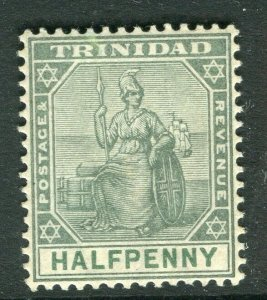 TRINIDAD; 1901 early Britannia issue Mint hinged 1/2d. value