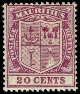 MAURITIUS SG221, 20c purple, LH MINT. WMK SCRIPT