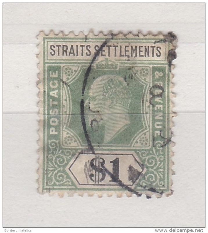 Straits Settlements 1902-10 KEVII $1 Green Black Used ZZ1643