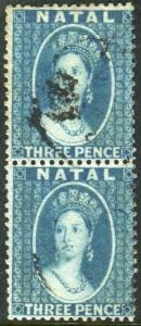 NATAL-1859-60 3d Blue.  A fine used vertical pair Sg 10