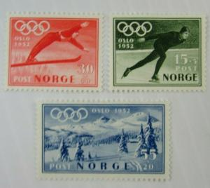 1952 Norway SC #B50-52 OSLO OLYMPICS Speed skating Skiing MH stamp set