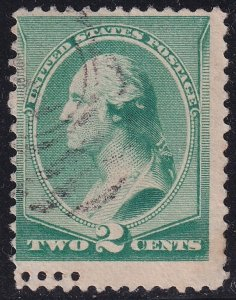 US STAMP #213 – 1887 2c Washington, green used double perf