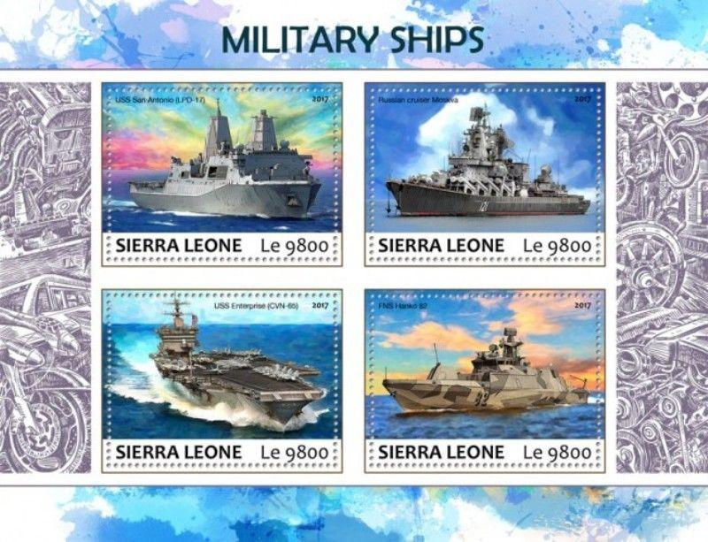 Sierra Leone - 2017 Military Ships - 4 Stamp Sheet - SRL17702a