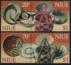 Niue 738-739 ab pairs,MNH.Michel 930-933. Wooden baskets,1999.