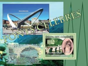 COMORES 2009 SHEET FAMOUS BRIDGES PONTS CELEBRES MEHMED PASA SOKOLOVIC cm9208b