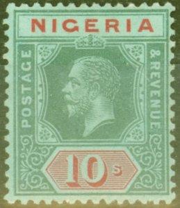 Nigeria 1920 10s on Emerald Pale Olive Back SG11c V.F Mtd Mint
