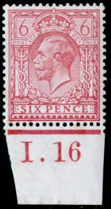 SG385 SPEC N26(4), 6d pale reddish purple, NH MINT. Cat £35+. CONTROL I.16.