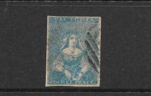 VICTORIA  1850-53  3d  PALE GREENISH BLUE    QV  FU  SG 11b  ...