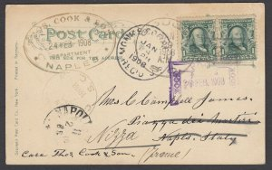 US 1908 SC to Thomas Cook in Naples, Italy, fwd to France w/ Cook Cachets
