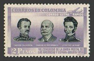 Colombia C280,hinged.Mi 753. Postal Union UPAEP-1955.A.Calderon,De Rio Branco,