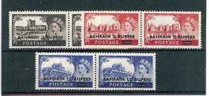 Bahrain, 96-98, Surcharged in Black Pairs,**MNH**