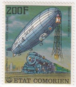 Comoro Islands, Sc 251, MNH, 1977. Zeppelin & Train