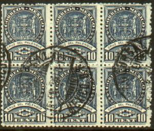 MEXICO 711, 10c Palenque Cross. Block of 6. Used. (308)