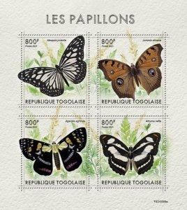 TOGO - 2021 - Butterflies - Perf 4v Sheet - Mint Never Hinged