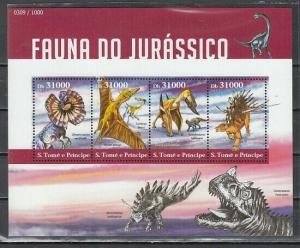St. Thomas, 2015 issue. Jurassic Dinosaurs s/sheet.