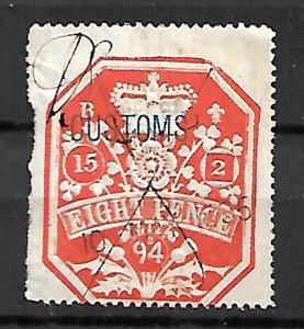 GB FISCAL REVENUE TAX STAMPS QV 1894, 8p
