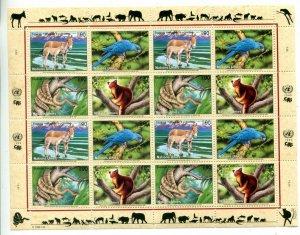 United Nations Geneva Scott #336-339 Endangered Species Sheet  MNH.