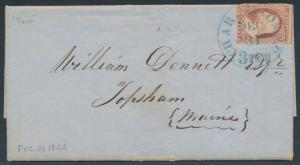 #11 ON FOLDED GOOD BUSINESS LETTER 1852 W/ CHARLESTON,SC CDS TO ME BR3678 HSAM