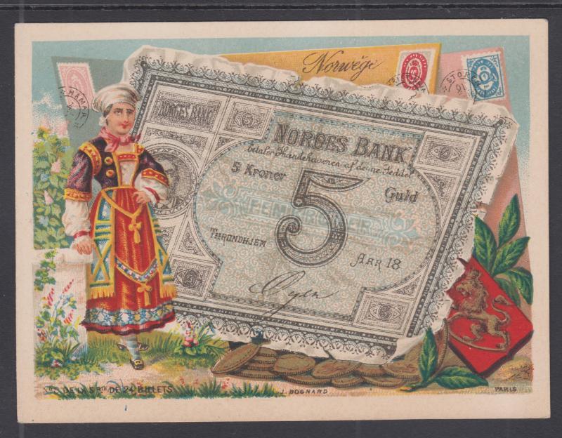 Bognard, Paris #8 circa 1900 Stamps & Banknotes of Norway Card
