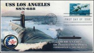 AO 3374, 2000, USS Los Angeles , FDC, Add-on Cachet, SSN-688, SC 3374