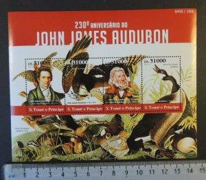 St Thomas 2015 john james audubon birds geese fauna m/sheet mnh