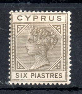 Cyprus QV 1882 6pi olive grey mint MH #21 WS13377