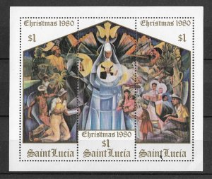 St. Lucia MNH S/S 537 Christmas Painting 1980