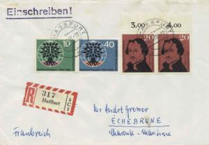 Germany 20pf Melanchthon (2) with 10pf and 40pf World Refugee Year 1960 (13a)...
