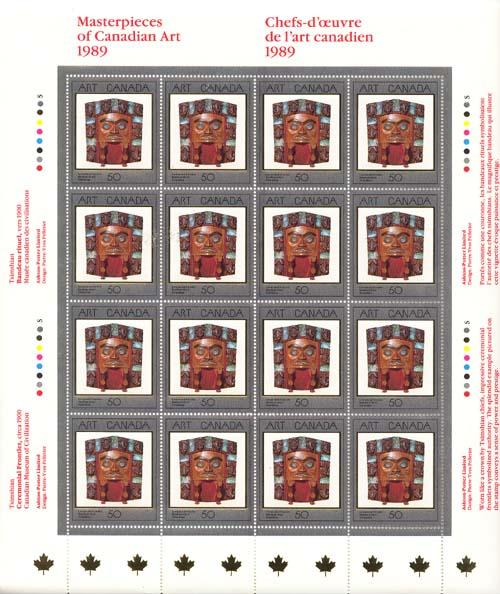 Canada USC #1241 Mint VF-NH 1989 Ceremonial Frontlet Pane of 16 As MS Imp. Blks.