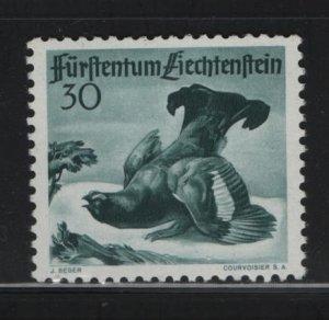 LIECHTENSTEIN 244 Hinged, 1950 Black Grouse