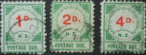 New Zealand 1900 1d - 4d Postage Due SG D14/D16 used