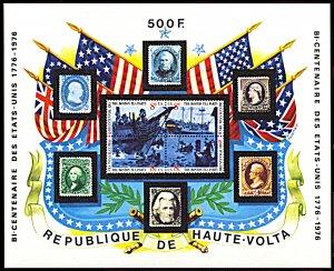 Upper Volta 358, MNH, Bicentennial of United States of America souvenir sheet
