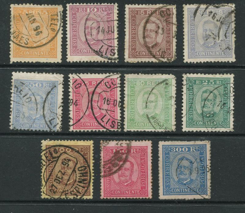 Portugal -Scott 67-78 -King Carlos Definitive-1892 -Used- Short Set of 11 Stamps