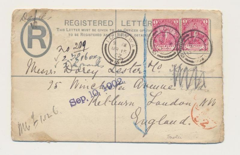 CAPE OF GOOD HOPE 1902 BOER WAR 4d REG. COVER, IDUTYWA CDS TO LONDON, 2d ADDED