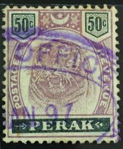 MALAYA 1895 PERAK 50c Tiger Used SG#74 M2888