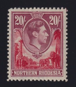 Northern Rhodesia Sc #45 (1938-52) 20/- rose lilac King George VI w/Plate Guide