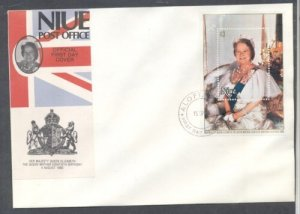 Niue Sc  282 1980 80th Birthday Queen Mother sheet on FDC
