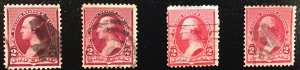 US #219D VERSUS #220 (2 Stamps of each compared)