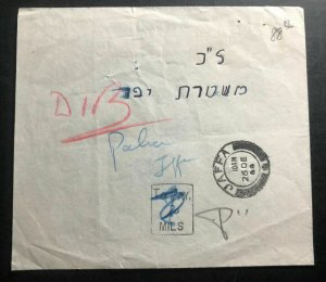 1944 Jaffa Palestine Postage Due Stampless Cover In Arabic