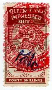 (I.B) Australia - Queensland Revenue : Impressed Duty 40/-