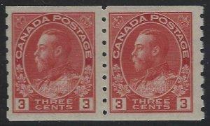 Canada 1924 3c Carmine George V Admiral Coil Pair Sc# 130 NH