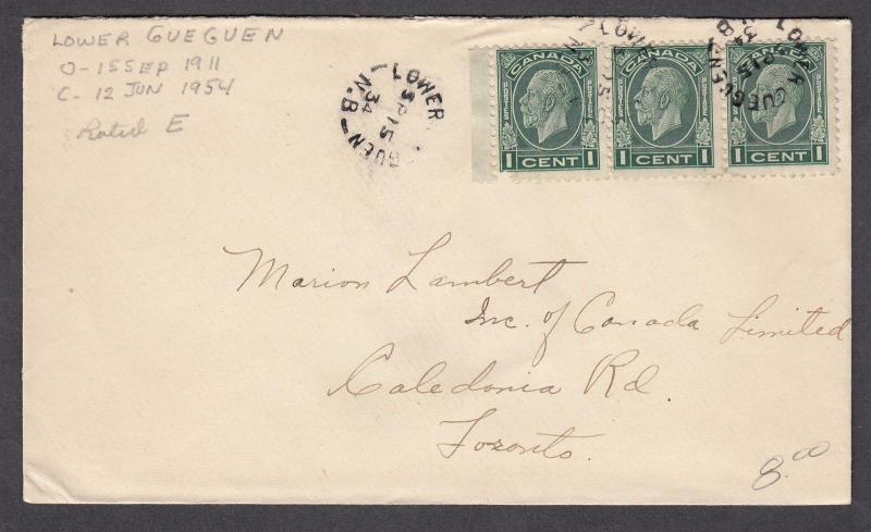 NEW BRUNSWICK SPLIT RING TOWN CANCEL COVER LOWER GUEGUEN