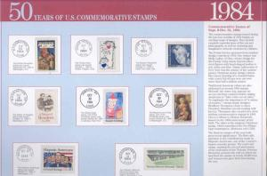 UNITED STATES 1984 COMMEMORATIVE STAMPS MINT NH ON DESCRIPTIVE PAGES  AS SHOWN