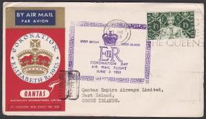 GB 1953 Qantas Coronation flight cover to COCOS IS via Singapore............8769