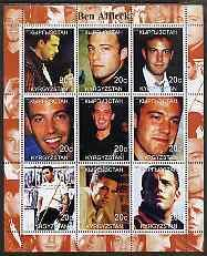 Kyrgyzstan 2000 Ben Affleck perf sheetlet containing 9 va...