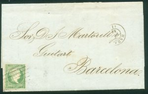 CUBA (SPANISH) 10, 1R 1861 FLD LTR DATED CAMPECHE TO BARCELONA, HAVANA FRANK(43)