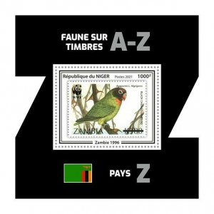 Niger 2021 MNH Stamps-on-Stamps Stamps Agapornis Parrots Birds WWF SOS 1v SS III