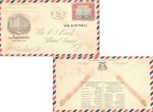 United States California Los Angeles Air Mail 1929 machine  5c Beacon  Oberse...