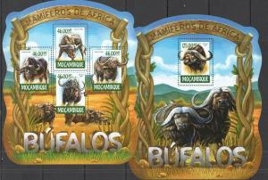 Mozambique 2015 wild fauna buffalos klb+s/s MNH