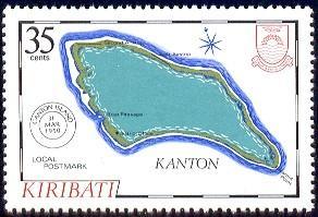 Map of Kanton, Local Postmark, Kiribati stamp SC#438 MNH